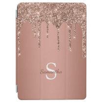 Chic Rose Gold Glitter Sparkle Drip Monogram Name iPad Air Cover