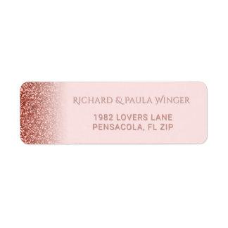 Chic Rose Gold Glitter Sparkle Glam Blush Pink Label
