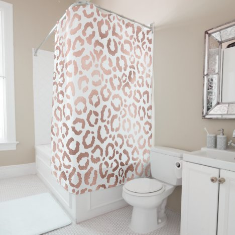 Chic Rose Gold Leopard Cheetah Animal Print Shower Curtain