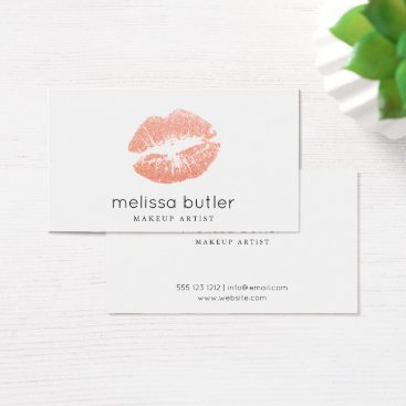 crispinstore Chic Rose Gold Lips Makeup Artist Business Card