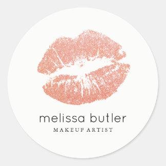Chic Rose Gold Lips Makeup Artist Classic Round Sticker