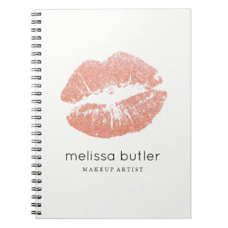 Chic Rose Gold Lips Makeup Artist Notebook