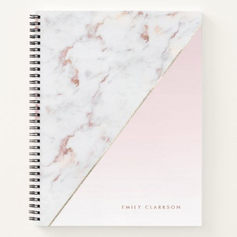 Chic Rose Gold Marble Blush Personalized Notebook