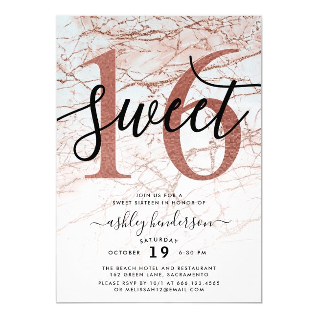 Chic Rose Gold Marble Glitter Sweet Sixteen Invitation