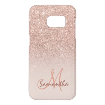 Chic Rose Gold Ombre Pink Block Personalized Samsung Galaxy S7 Case by girly_trend at Zazzle