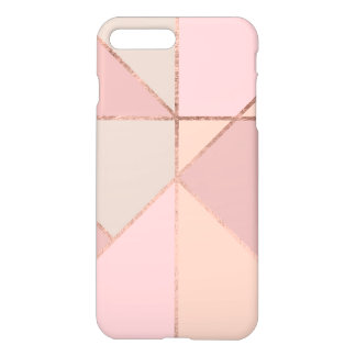 Chic rose gold peach tan blush color block iPhone 8 plus/7 plus case
