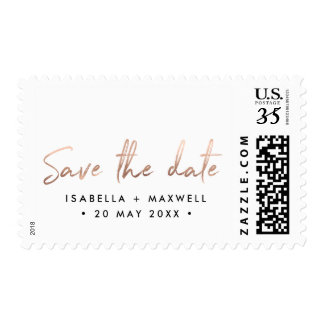 Chic Rose Gold Personalized Save the Date Stamp