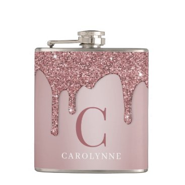 Chic Rose Gold Sparkle Glitter Drips Monogram Flask