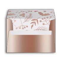 Chic Rose Gold & White Fronds Envelope
