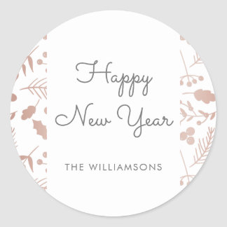 Chic Rose Gold & White Fronds Happy New Year Classic Round Sticker