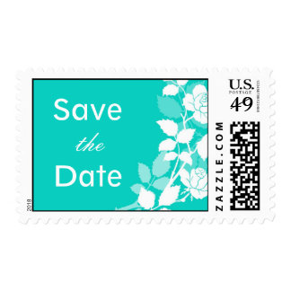 Chic Rose Save the Date Blue Postage