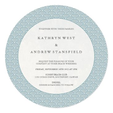 Beach Themed Chic Round Blue Waves Pattern Wedding Invitation