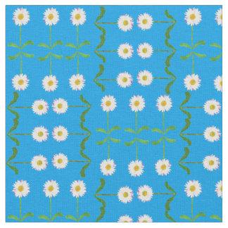 Chic Rows of Daisies on Sky Blue Custom Fabric