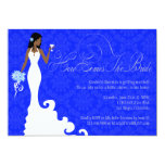 "Chic Royal Blue Silver Damask Here Comes the Bride 5"" X 7"" Invitation Card"