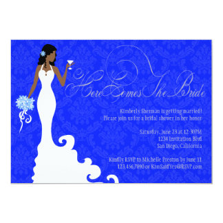 """Chic Royal Blue Silver Damask Here Comes the Bride 5"""" X 7"""" Invitation Card"""