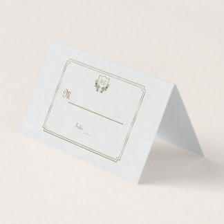 Chic Royal Gold Crest Lush Greenery Table Number Place Card