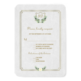 Chic Royal Gold Crest Lush Greenery Wedding RSVP Card