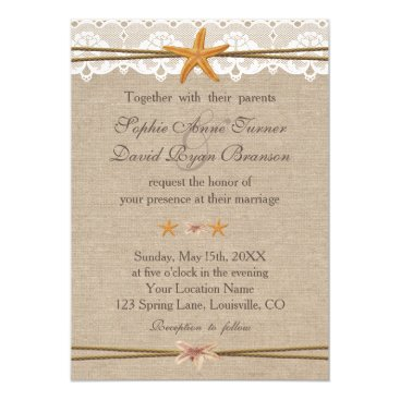 Beach Themed Chic Rustic Beach Starfish Lace Wedding Invite
