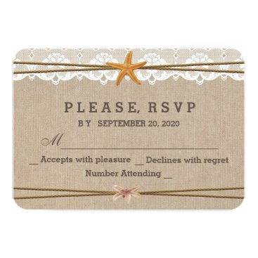 Beach Themed Chic Rustic Beach Starfish Lace Wedding RSVP Card