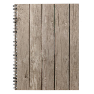 Chic Rustic Faux Wood Spiral Note Books