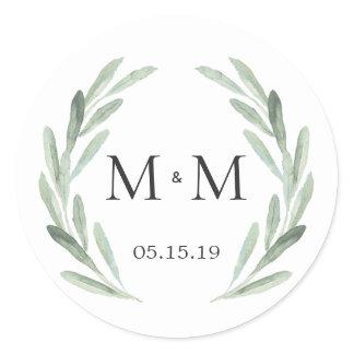 Chic & Rustic Green Wreath Monogram Wedding Favor Classic Round Sticker