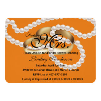 Chic Rustic Orange Rings With Pearls Bridal Invite