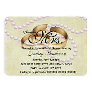 Chic Rustic Rings With Pearls Bridal Invite
