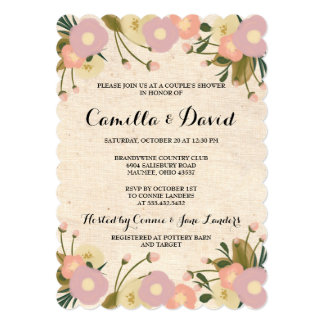 Canvas invitations announcements zazzle chic rustic watercolor floral canvas couple shower card stopboris Choice Image