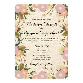 Canvas invitations announcements zazzle chic rustic watercolor floral canvas wedding card stopboris Choice Image