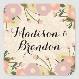 Chic Rustic Watercolor Floral Custom Wedding Square Stickers