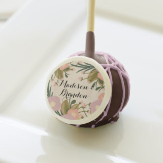 Chic Rustic Watercolor Floral Custom Wedding Cake Pops