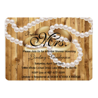 Chic Rustic Wood - Rings With Pearls Bridal Invite