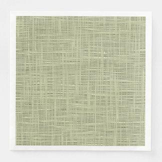Chic Sage Herb Green Faux Jute Fabric Pattern Paper Dinner Napkin
