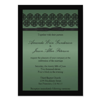 Chic Sage Wedding Invite with Bow