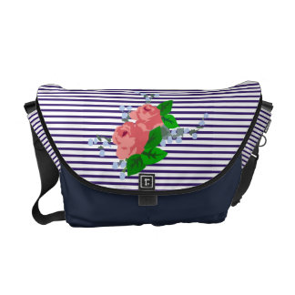 Chic sailor stripes and roses courier bag