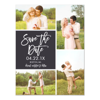 Chic Save The Date 4-Photo Collage Magnet