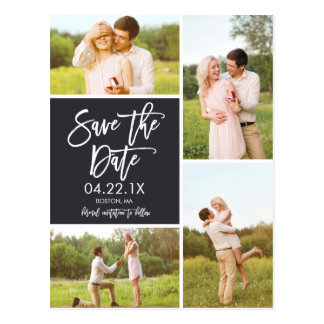 Chic Save The Date 4-Photo Collage Postcard