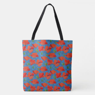 Chic Scarlet Field Poppies Floral Pattern on Blue Tote Bag