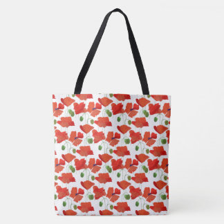 Chic Scarlet Field Poppies Floral Pattern on White Tote Bag