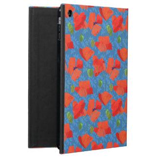 Chic Scarlet Field Poppies on Blue Powis iPad Case