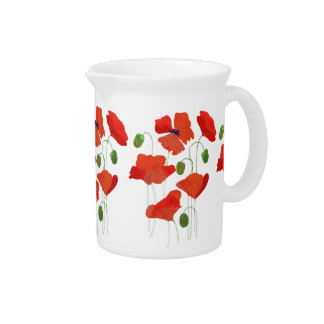 Chic Scarlet Field Poppies Small Jug or Pitcher