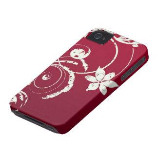 Chic Scarlet Red & Swirly Flower Desgin iPhoneCase iPhone 4 Case