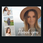 """Chic Script 4 Photo Collage Graduation Thank You Postcard<br><div class=""""desc"""">Say thank you in style with this postcard featuring 4 of your graduation photos accented with a chic hand-lettered looking script font that reads &quot;Thank you&quot; or change to your custom text. Add your name and graduation date to the front and type in your custom thank you note on the...</div>"""
