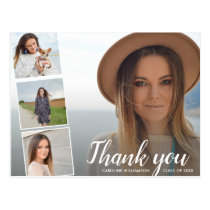 Chic Script 4 Photo Collage Graduation Thank You Postcard