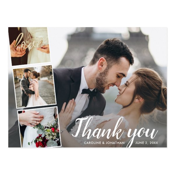Chic Script 4 Photo Collage Wedding Thank You Postcard
