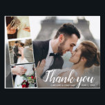 """Chic Script 4 Photo Collage Wedding Thank You Postcard<br><div class=""""desc"""">Say thank you in style with this postcard featuring 4 of your wedding photos accented with a chic hand-lettered looking script font that reads """"Thank you"""" or change to your custom text. Add your names and wedding date to the front and type in your custom thank you note on the...</div>"""