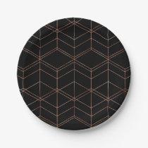 Chic Script Black & Copper Geometric Pattern Paper Plate