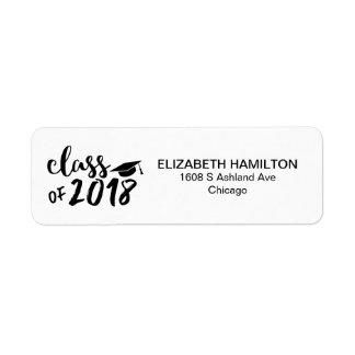 Chic Script Black & White Script Graduation Party Label