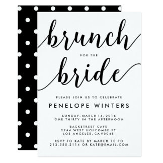 Chic Script Brunch Bridal Shower Invitations