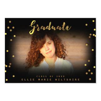 Chic Script Faux Gold Foil Confetti Graduate Photo Card